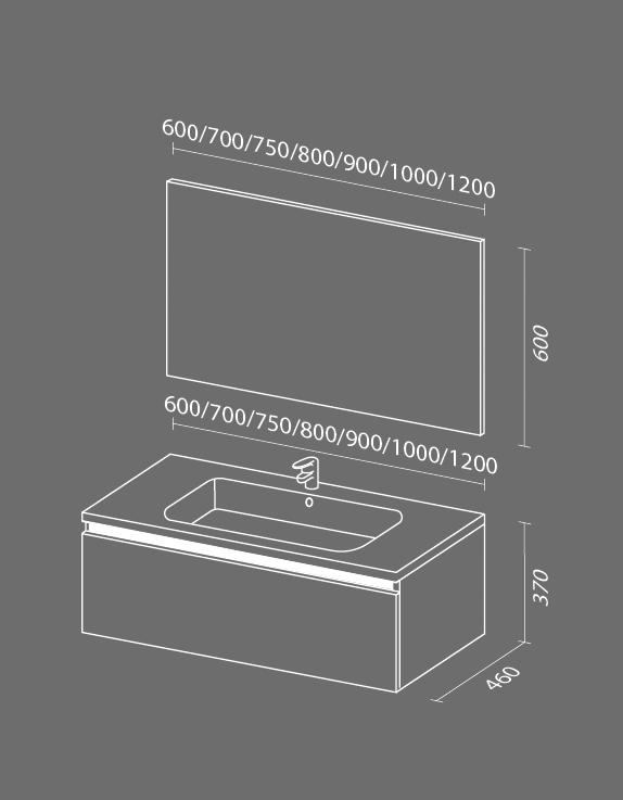 Кубэ 1 схема Мебель для ванных комнат СанВит