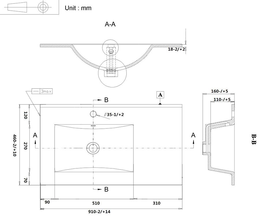 Раковина 9060 D SanVit СанВит схема