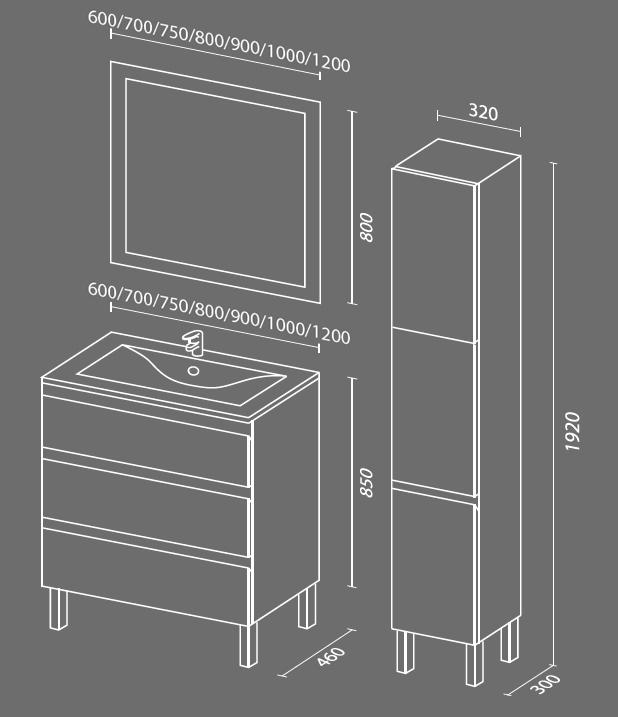 Авеню 3 схема Мебель для ванных комнат Sanvit Санвит