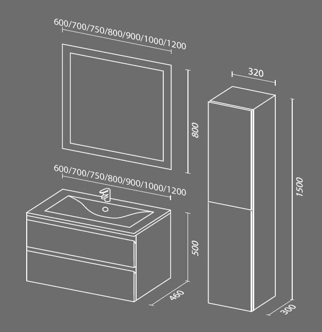 Авеню 2 схема Мебель для ванных комнат Sanvit Санвит