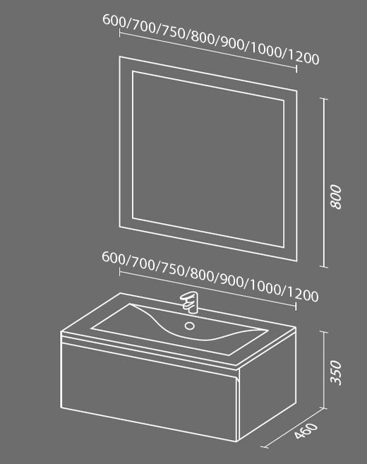 Авеню 1 схема Мебель для ванных комнат Sanvit Санвит