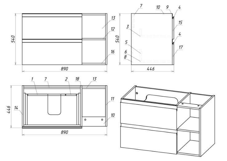 Стрит 4 чертеж Мебель для ванных комнат Sanvit Санвит