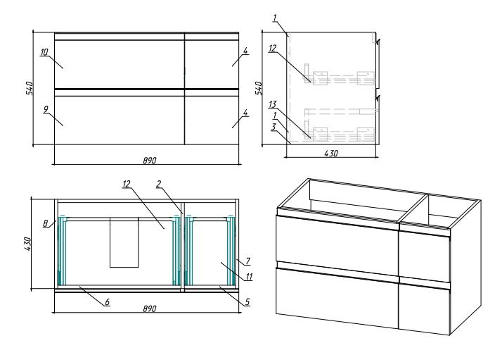 Стрит BOX чертеж Мебель для ванных комнат Sanvit Санвит