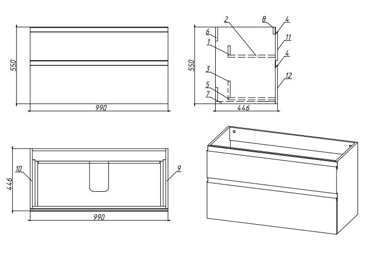 Стрит 2 чертеж Мебель для ванных комнат Sanvit Санвит