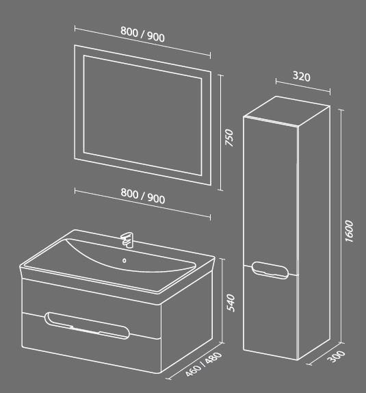 Форма 90 схема Мебель для ванных комнат СанВит