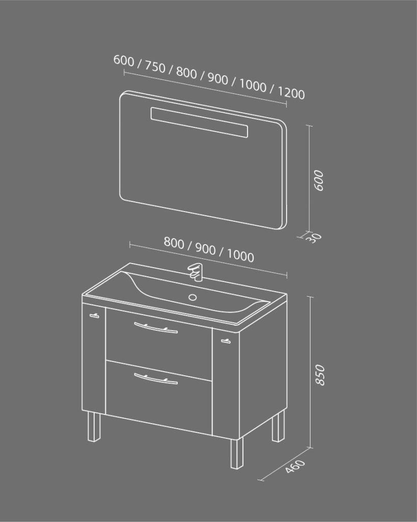 Комфорт NEW Схема Мебель для ванных комнат Sanvit Санвит