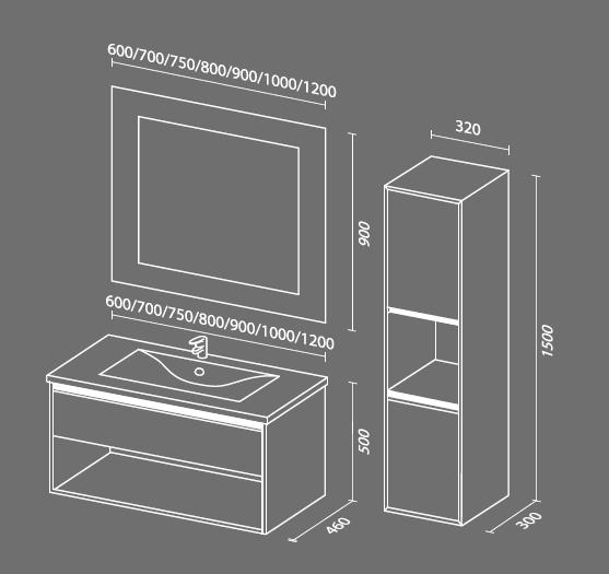 Контур схема Мебель для ванных комнат Sanvit Санвит