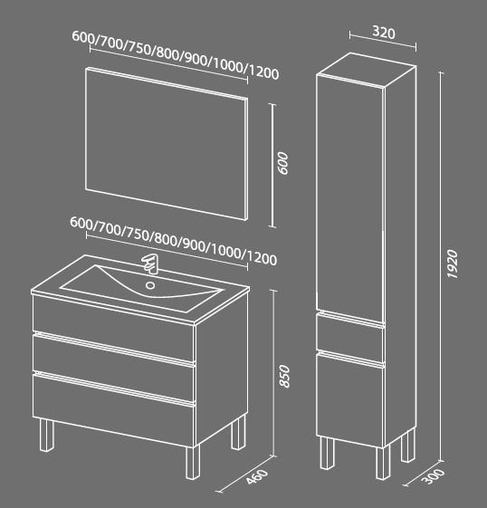 Кубэ-3 схема Мебель для ванных комнат СанВит