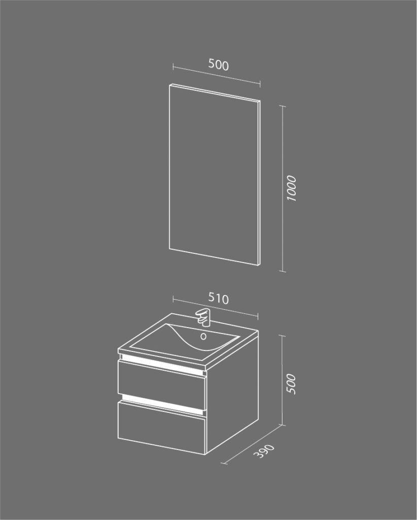 Кубэ мини NEW Схема Мебель для ванных комнат Sanvit Санвит