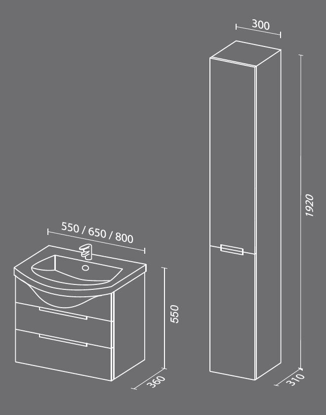 Палома схема. Мебель для ванных комнат СанВит.