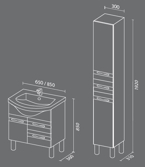 Прима схема Мебель для ванных комнат Sanvit Санвит