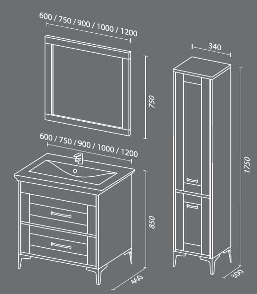 Прованс схема Мебель для ванных комнат СанВит