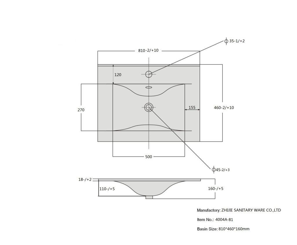 Раковина 9080 D SanVit СанВит схема