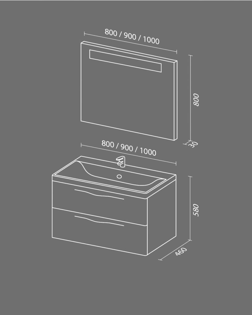 Тандем NEW Схема Мебель для ванных комнат Sanvit Санвит